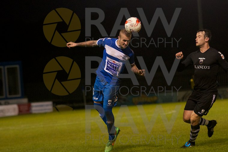 Sam Rodon heads the ball for H'west County in the Welsh Premier League match on Tuesday 22nd September 2015 Haverfordwest County v Port Talbot Town © Matthew Kelly www.rawphotography.me.uk