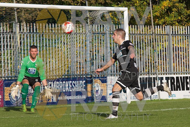 Double goal scorer Mark Collonny - Haverfordwest County 0 v Bala Town 2 in the Welsh Premier 24th October, 2015 © Matthew Kelly www.rawphotography.me.uk